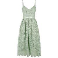 Light Green Floral Crochet Skater Dress New Look