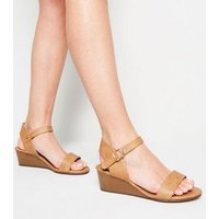 Wide Fit Tan 2 Part Wood Wedges New Look