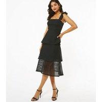 Black Fishnet Lace Tiered Midi Dress New Look