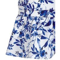 Blue Floral Ruffle Belted Mini Dress New Look