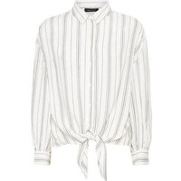 White Stripe Print Tie Front Shirt New Look