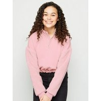 Girls Pale Pink Teddy Sleeve Sweatshirt New Look