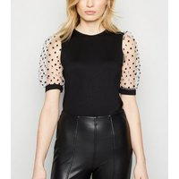 Black Mesh Spot Puff Sleeve Top New Look