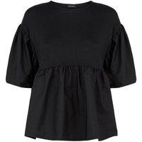 Black Fine Knit Poplin Peplum Top New Look