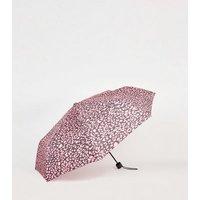 Pink Leopard Print Umbrella New Look