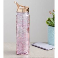 Multicoloured Glitter Flip Straw Water Bottle New Look