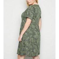 Curves Green Animal Jacquard Smock Mini Dress New Look