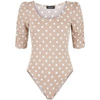 Brown Spot Ruched Puff Sleeve Bodysuit New Look