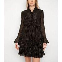 Port Boutique Black Spot Tiered Mini Dress New Look