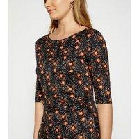 StylistPick Black Floral Spot Jersey Dress New Look
