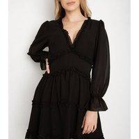 Port Boutique Black Chiffon Frill Mini Dress New Look