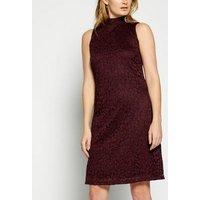 StylistPick Burgundy Lace High Neck Dress New Look