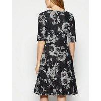 StylistPick Black Floral Cross Wrap Dress New Look