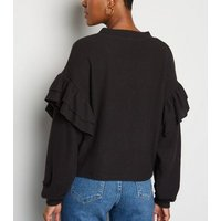 Black Brushed Fine Knit Frill Cardigan New Look