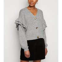 Pale Grey Brushed Fine Knit Frill Cardigan New Look