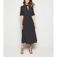Black Spot Flutter Sleeve Midi Dress New Look