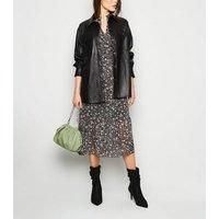 Black Floral Long Sleeve Midi Smock Dress New Look