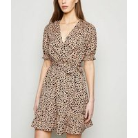 Brown-Animal-Print-Puff-Sleeve-Wrap-Dress-New-Look
