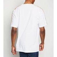 White Zig Zag Tape Sleeve T-Shirt New Look