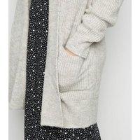 Pale Grey Long Cardigan New Look