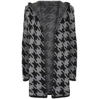 Mela Light Grey Dogtooth Hooded Cardigan New Look