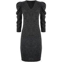 Mela Grey Ribbed Puff Sleeve Dress New Look