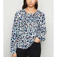 JDY Blue Animal Print Shirred Smock Top New Look