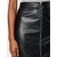 Cameo Rose Black Leather-Look Skirt New Look