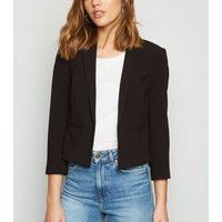 Black Crop 3/4 Sleeve Blazer New Look