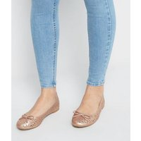 Wide Fit Rose Gold Laser Cut Ballet Pumps New Look Vegan