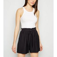 Black Tie Waist Twill Shorts New Look