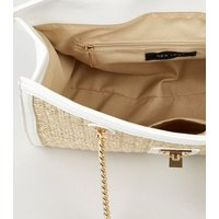 White Straw Effect Structured Tote Bag New Look