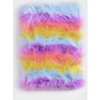 Multicoloured Rainbow Faux Fur Notebook New Look