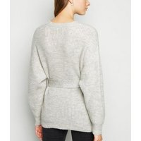 Pale Grey Belted Jumper New Look