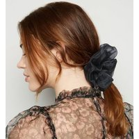 Black Organza Scrunchie New Look