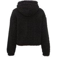 Black Hooded Teddy Jacket New Look