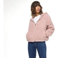 Pale Pink Hooded Teddy Jacket New Look