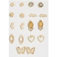 9 Pack Gold Flower Mixed Stud Earrings New Look