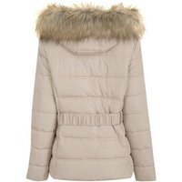 Cream Faux Fur Hood Fitted Puffer Jacket New Look