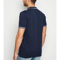 Bellfield Navy Tipped Buffalo Motif Polo T-Shirt New Look