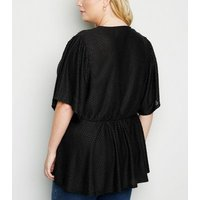 Curves Black Textured Spot Peplum Wrap Top New Look