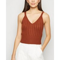 Rust Ribbed Knit Bralette New Look