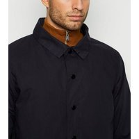 Bellfield Navy Collared Long Mac New Look