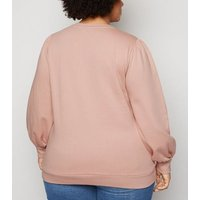 Curves Pink Puff Sleeve Sweatshirt New Look