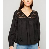 Black Embroidered Lace Tie Neck Blouse New Look