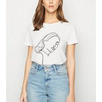 JDY White Sketch Print T-Shirt New Look