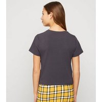 Girls Dark Grey Lattice Side T-Shirt New Look