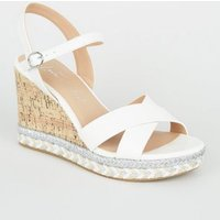 Wide Fit White Metallic Espadrille Cork Wedges New Look