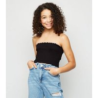 Girls Black Shirred Bandeau Top New Look