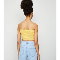 Girls Yellow Shirred Bandeau Top New Look